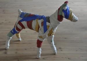 cane, 2007,2010, metal, clothes, plaster, pigment, lacquer, 95x35x75 cm