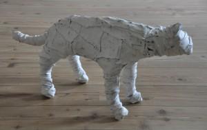 gatto, 2007, 2010, metal, clothes, plaster, lacquer, 90x20x45 cm
