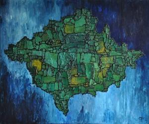 drijvende bossen, 2012, mixed media. acryl op doek, 100x120 cm