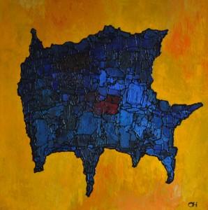 blauwe beest, 2012, mixed media. acryl op doek, 100x100 cm
