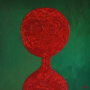 rood portret, 2012, mixed media. acryl op doek, 90x90 cm