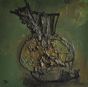 olijf variatie, 2012, mixed media. acryl op doek, 60x60 cm