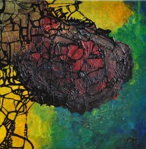 metamorfose, 2012, mixed media. acryl op doek, 60x60 cm