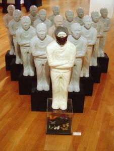 their rules, 2002, glazed ceramics, butterfly, acryl & wood box, h. 90 cm