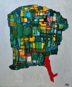 """La mente vola..."", mixed media, acryl op linnen, 100x120 cm"