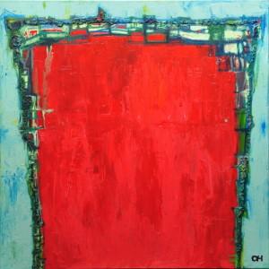 """""""Rode berg"""", mixed media, acryl op linnen, 100x100 cm"""