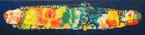 """Voyage"", mixed media, acryl op linnen, 160x40 cm"